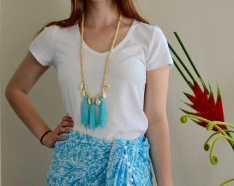 Aqua beach sarong with Pom Pom trim