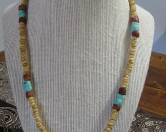 20'' surfer's turquoise and bone necklace.