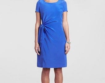 Front Knot Detail Silk Sheath Dress // Bright Blue Silk Dress // Alba Silk Dress