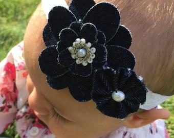 Denim Flower Headband-Dark Flower Petals