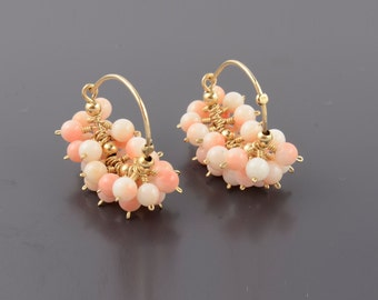 Natural Coral Earrings, Cluster Coral Earrings, Pink Coral Earrings, Natural Pink Gemstone Earrings