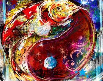 Koi Ying Yang Art, Fish Painting, Koi Art, Ying Yang Art