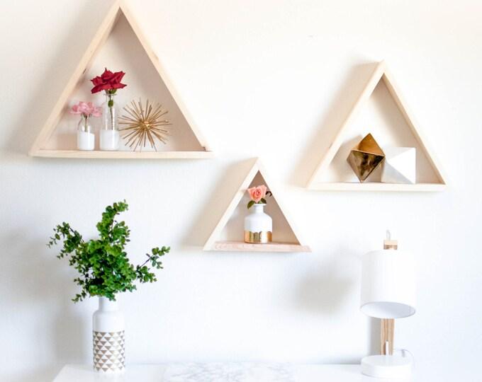 Triangle - Wood Shelf TRIO [Sm. Med. Large]
