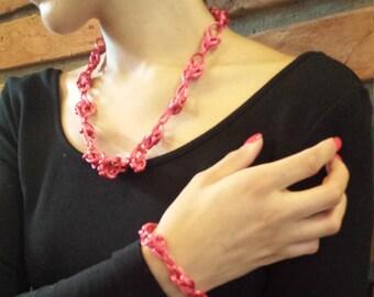 Pink Threaded Necklace & Bracelet Set