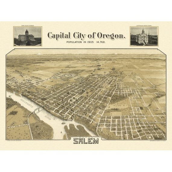 Historic Panoramic Map Of Salem Oregon 1905 Marion County