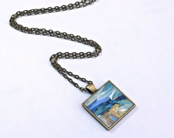 Art Necklace ~ Original Painting Pendant - Wearable Art - Blue and Yellow Abstract Necklace - Handpainted Pendant