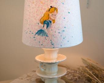 Hand Painted Alice In wonderland teacup lamp (new)