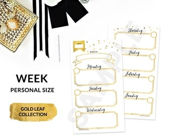 Gold Printable Personal Planner WEEKLY Inserts Refills PERSONAL Size - Gold Collection