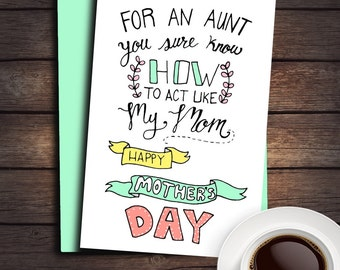 New Mother's Day Card, Aunt Card, Card for Aunt