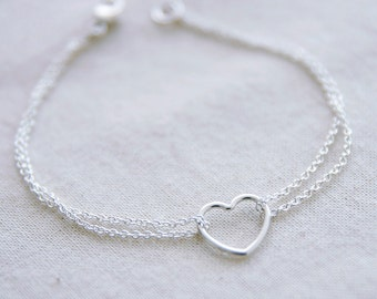Sterling Silver Heart Bracelet Double Chain Silver Bracelet Delicate Layering Jewelry Dainty Minimal Stacking Bracelet Jewellery Under 50