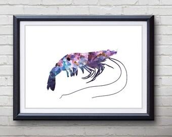 Purple Prawn Ocean Animal Print - Home Living - Prawn Painting - Prawn Wall Art - Wall Decor - Home Decor, House Warming Gifts