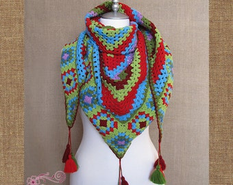 Shawl, baktus, kerchief with tassels