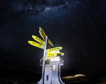 Stars, lighthouse, galaxy, night, road, nebula, light,landscape photography, nature, limited edition print,
