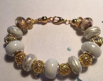 Gold and White European Bracelet