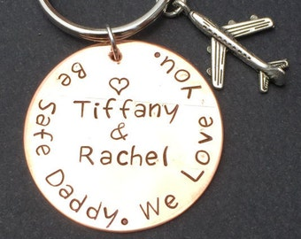 Be Safe Daddy We Love You Key Chain-Fathers Day Gifts-Gift for Dad-Firefighter gift-Police Officer gift-Custom KeyChain-Law enforcement