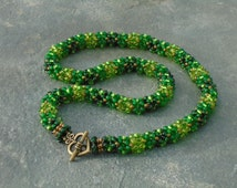 Beaded Rope Necklace, Summer Oak Woodland, in lime, emerald, bronze and green Czech seed beads, UK seller