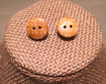 Yellow Wooden Button Earrings