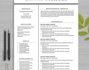 resume template for ms word and apple pages 1 and 2 page resume cover - Apple Pages Resume Templates