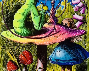 Psychedelic batik wall-hanging Tapestry, 'Alice in Wonderland'. Hand-painted, silkscreen, UV active, trippy, art decor