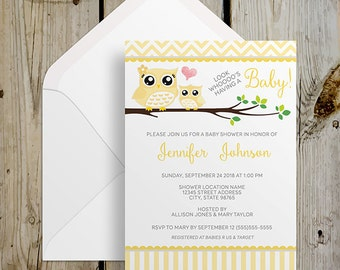 PRINTABLE Stripes and Chevron Yellow Owl Baby Shower Invitation - DIY Print at Home / Print your Own Digital Printable Invitation 5x7 / 4x6