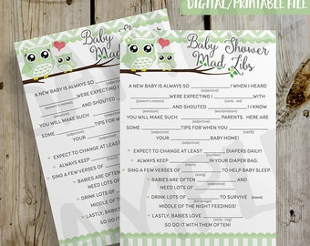 PRINTABLE Green Owls Baby Mad Libs Baby Shower Game - DIY Instant Download Green Owl Baby Shower Mad Libs Game Digital File Print Yourself