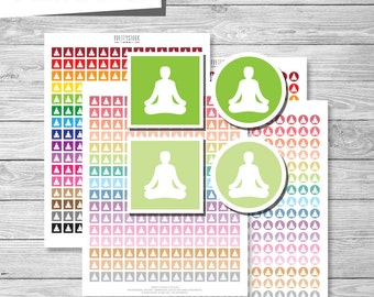 Yoga Planner Stickers, Yoga Printable Stickers PDF, Circle and Square Yoga Icons Stickers - Instant Download // PS187
