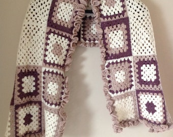 Crochet shawl made of granny squares