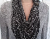 CLEARANCE - Black and Gray Lucetted Chain Infinity Scarf