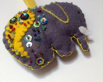Handmade Felt Elephant Hanging Decoration; Christmas Gift; Handstitched Fun Felt Art