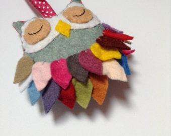 Beautiful Handmade Felt Owl Hanging Decoration; Handstitched Fun Felt Art; Personalised Christmas Gift