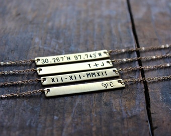 Hand Stamped Gold Bar Necklace / Personalized Gold Bar / Custom Necklace / Minimalist Necklace / Gold Toned Brass / Simple Everyday Necklace
