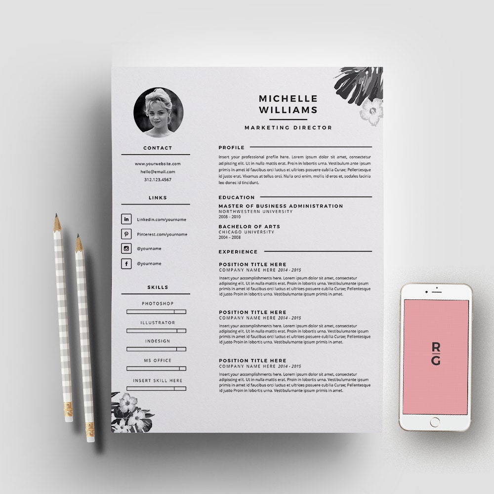 Resume template 3 page pack cv template cover letter for zoom pronofoot35fo Image collections