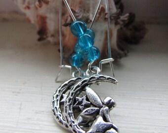 Fairy earrings , Fantasy earrings , Kidney wire earrings , Dangle earrings , Silver plated earrings , Beaded earrings