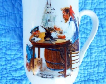 Rockwell For A Good Boy Mug, Norman Rockwell, 1982 , Rockwell Museum, Seal of Authenticity, Museum Collection, Vintage Cup, Shipmaker