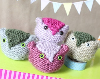 Knited Owl. Baby toy. Animal knit. Handmade. Miniture