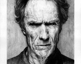 Custom Clint Eastwood Pencil Portrait - Pencil Drawing