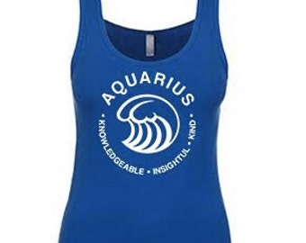 AQUARIUS,  What's Your Sign? Tank in blue or gray,  aquarius tank, blue aquarius tank, aquarius, zodiac sign tank, zodiac tee, zodiac sign