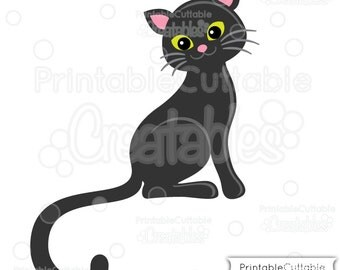 Cute Black Cat SVG Cut File & Clipart E194 - Includes Limited Commercial Use!