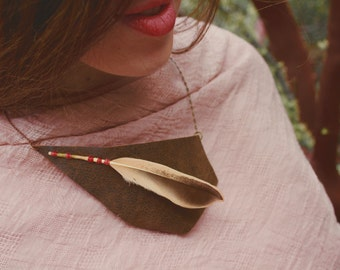 Falling Feather- Leather and Feather Necklace