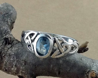 Blue Topaz Ring~Celtic Blue Topaz Ring~Blue Topaz Silver Ring~Blue Topaz Jewelry~December Birthstone~Promise Ring~Girlfriend Gift