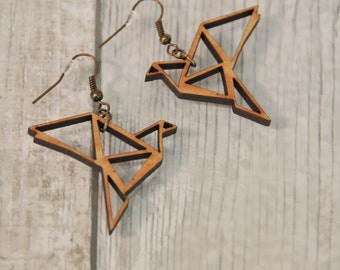 Wooden Origami Bird Earrings