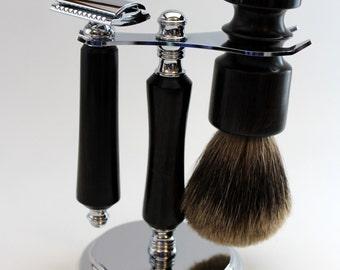 Shaving Kit/Set Handturned from African Blackwood. Razor & Badger hair Brush