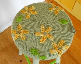 Wooden stool with crochet cover (large)