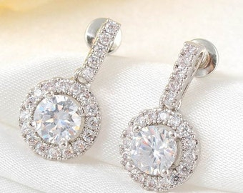 Bridal Earrings, Bridal Diamond Drop Earrings, Drop Earrings, Bridesmaid Earrings, Prom Earrings, Statement Earrings, Cubic Zirconia Earring