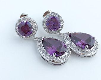 Purple Amethyst Crystal Earrings Bridal Amethyst Earrings Purple Cubic Zirconia Jewelry Purple Teardrop Rhodium Earrings Amethyst Earrings