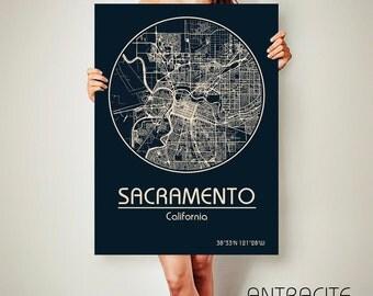 SACRAMENTO California Map Sacramento Poster City Map Sacramento California Art Print Sacramento California poster Sacramento California map