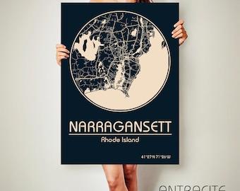 NARRAGANSETT Rhode Island CANVAS Map Narragansett Rhode Island Poster City Map Narragansett Rhode Island Art Print Narragansett Rhode Island