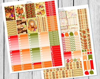 Thanksgiving Planner Sticker Happy Planner Printable / Happy Planner Sticker Printable / Fall Planner Sticker Kit