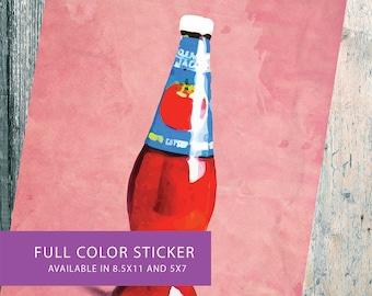 Loteria La Botella Mexican Retro Illustration Art Sticker