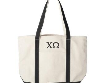 Chi Omega Large Canvas Tote Bag,  Chi Omega Beach Bag, Chi Omega College Book Bag, Chi Omega Tote